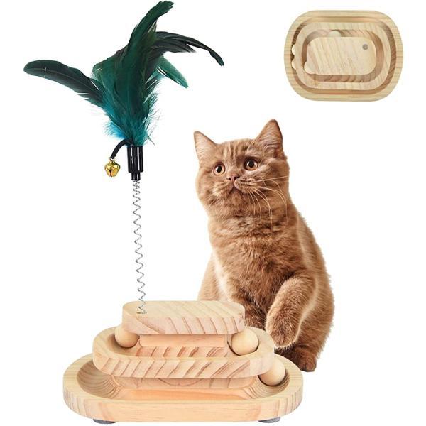 猫 おもちゃ 回転ボール 木製 3層 遊び盤 色ランダム 羽つき 猫じゃらし付き 運動不足 二層四角盤