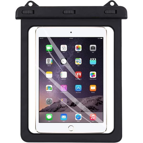 タブレットiPad透明防水ケース7-10インチ対応沐浴風呂雨天アウトドアキャンプキッチンMDM(黒色)