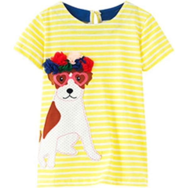 セウルブルー 手作り 刺繍 ヨーロッパデザイン ワンピース 2才〜10才 大きな ガールズ 子供服 ベビー cm(犬, 100)