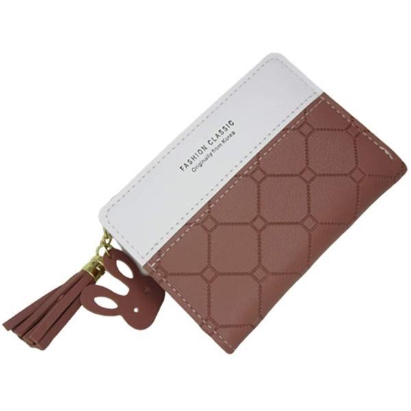 2つ折り財布 レディース ミニ財布 コンパクト PUレザー タッセルチャーム 6color(ローズピンク)
