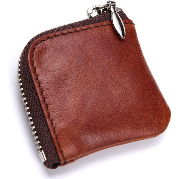 革工房小銭入れ小さいミニ財布コインケースメンズレディースL字ラウンドファスナーコンパクト本革薄いMDM(ブラウン)