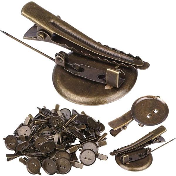 コサージュ アンティーク ブローチ 安全ピン つまみ細工 ブローチピン 25mm ブロンズ 50個(ブロンズ, 50個)