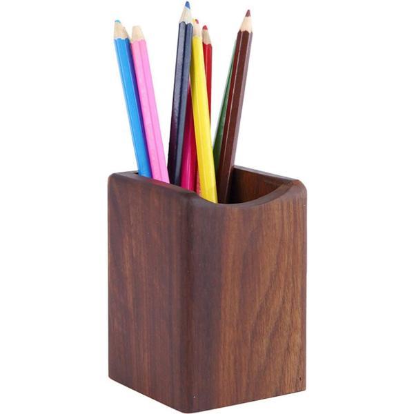 ヘルスリーフ 木製無垢ペンスタンド ペン入れ 天然木 天然杢 ペン立て ウォールナット 鉛筆立て(ブラウン)