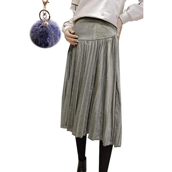 マタニティ スカート 産前 産後 妊婦服 ロング 秋冬 春 ウエスト調整 チャーム 付き グリーン,(グリーン, XL)