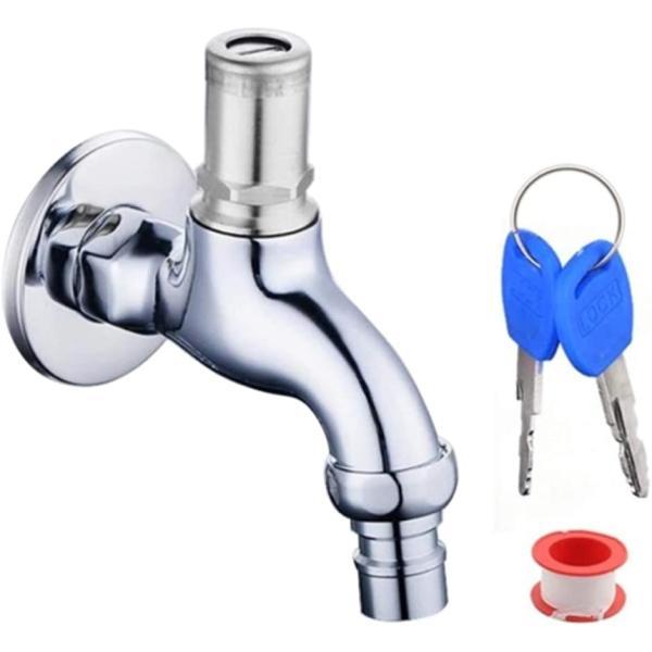 いたずら防止に。 鍵付き 水栓 蛇口 水道 ガーデニング 屋外水栓 灯油タンク 防犯 カギ2個 シールテープ付き