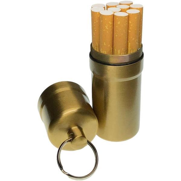 シガレットケース タバコ10本収納 携帯灰皿 防水 キーホルダー 合金 アウトドア 耐湿防圧(ゴールド)