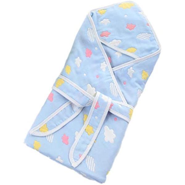 ボアソルチ 新生児 おくるみ ベビー バスタオル ブランケット 綿100% 6重 ガーゼ(ブルー)