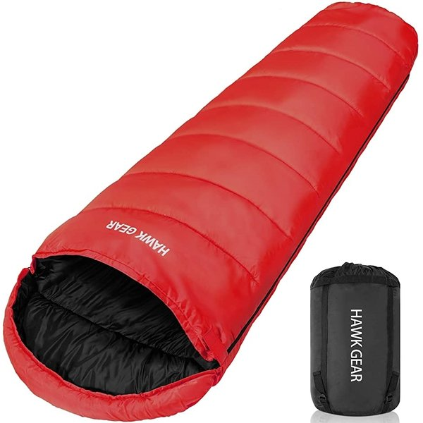 HAWK GEAR ホークギア 丸洗いできる寝袋 マミー型 シュラフ -15度耐寒 簡易防水 オールシーズン MDM(レッド)