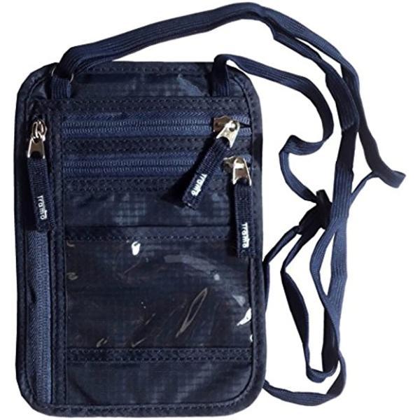 パスポートケース 首下げ スキミング防止 ネックポーチ 旅行 便利 貴重品入れ(ネイビー)