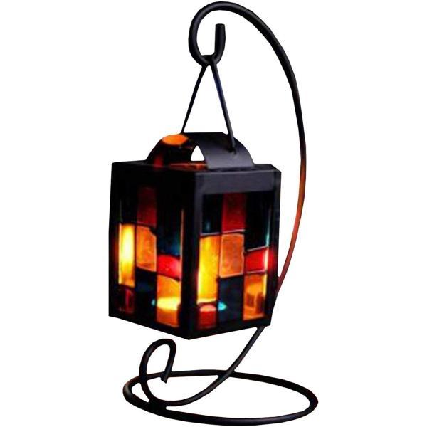 北欧 キャンドル スタンド ホルダー アンティーク 吊りフック付き ステンドグラス 格子デザイン インテリア に(ブラック)