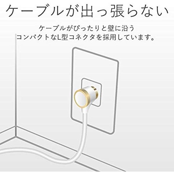 アンテナケーブル 4K8K対応 BS/CS/地デジ対応 差込式 L字-Sストレート やわらか極細ケーブル 10m ホワイト[1_ホワイト]