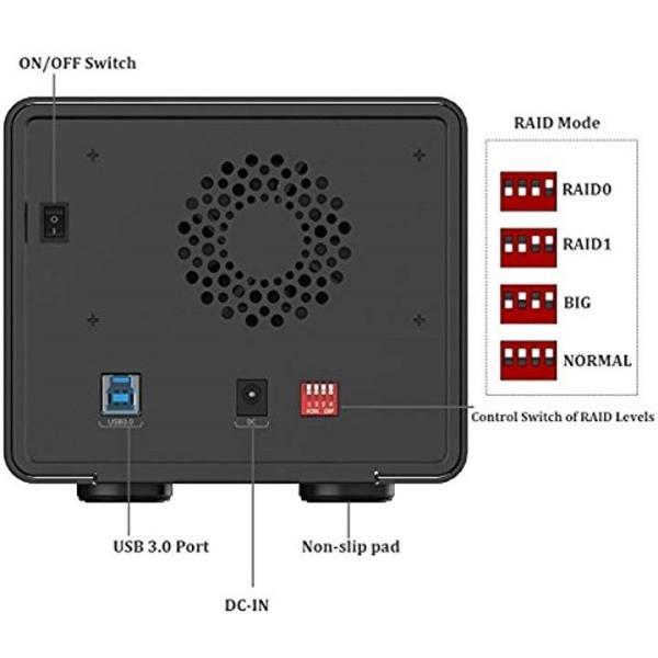 2ビット 3.5インチ HDDストレージベイ RAIDモード USB3.0 SATA3[ブラック][9528RU3-BK][オリコ(ORICO)]