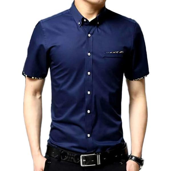 半袖 ワイシャツ フォーマル カジュアル ビジネス シンプル 無地 メンズ カッターシャツ(ネイビー, M)