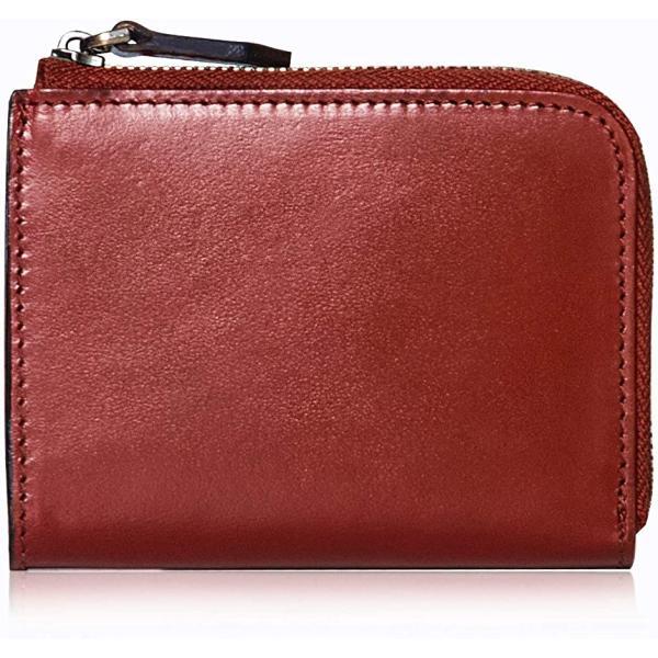 ポヨリー財布メンズL字ファスナー財布小さい本革小銭入れレディースコンパクト財布ミニ財布コインケース(レッド)