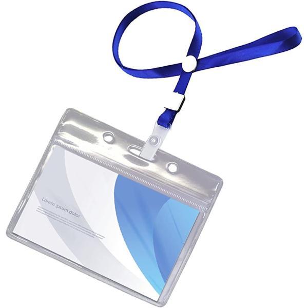 名札ホルダー 防水 ケース 首掛け ネック ストラップ 名刺 ID カード 100個セット ブルー(100個セット ブルー)