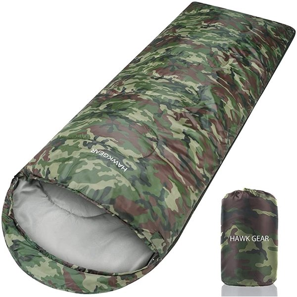 HAWK GEAR ホークギア 丸洗いできる寝袋 マミー型 シュラフ -15度耐寒 簡易防水 オールシーズン 迷彩(迷彩(軽量タイプ))