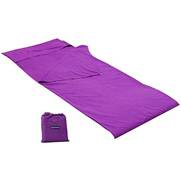インナーシーツ 寝袋 シュラフ 寝袋シーツ トラベルシーツ 封筒型 アウトドア 旅行 防災用品(パープル, 115cmx210cm)
