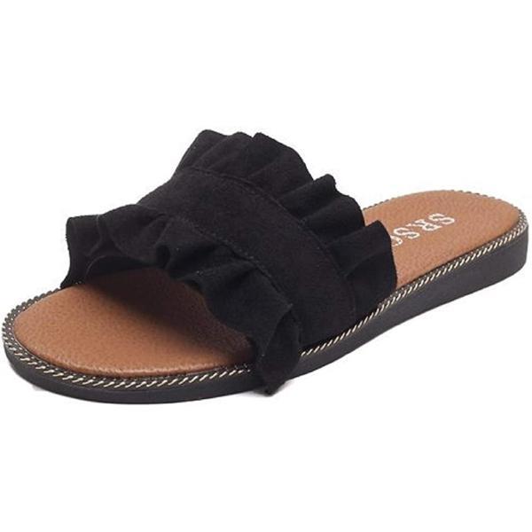 スリッパ サンダル フリル 室内履き お洒落 オシャレ 黒 くろ ゆったり シンプル おしゃれ おおきい(ブラック, 24.0 cm)