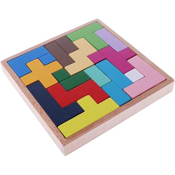 スライドパズル 木製 ウッド 立体 3D テトリス ブロック 積み木 キューブ 知育玩具 カラフル 認知症 脳トレ(マルチカラー)
