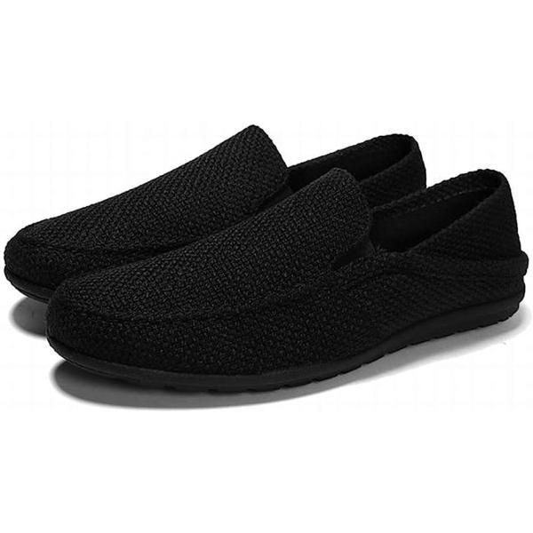 トーアソーア スリッポン メンズ スニーカー かかとなし 軽量 通気性 44-27.0cm, 黒(ブラック, 27.0 cm)