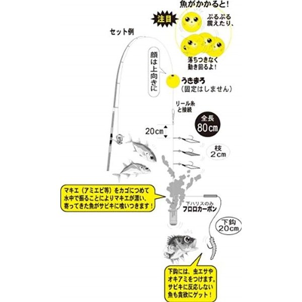 仕掛け うきまろ欲張りサビキ ハゲ皮 4本 極小アジ/がまチンタメバル S 80cm 1組 UM118 42078[UM-118]