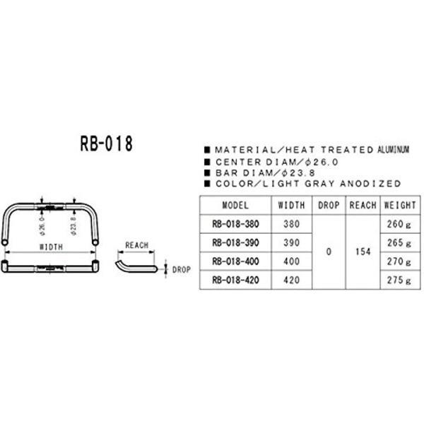 ドロップハンドル RB-018 RB-018-400 φ26.0 400 ライトグレイ1