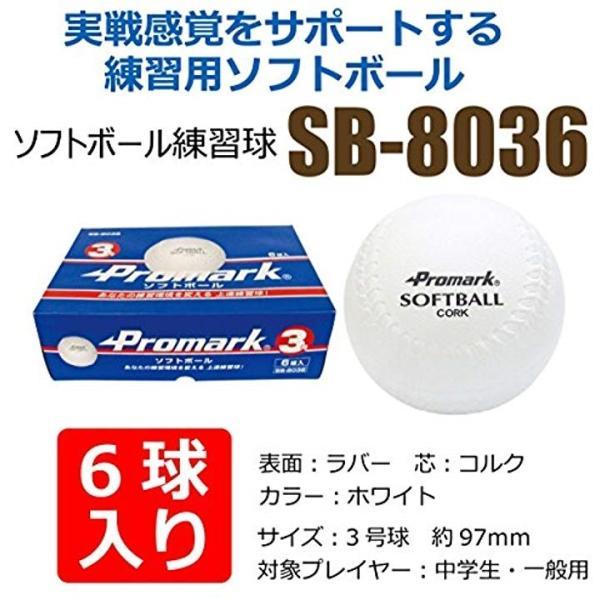 Promark プロマーク 野球 ソフトボール 練習球 3号球 6個入り  SB-80364