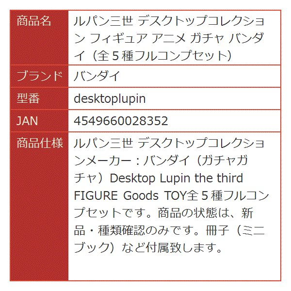 ルパン三世 デスクトップコレクション フィギュア アニメ ガチャ 全5種フルコンプセット[desktoplupin]|horikku|02