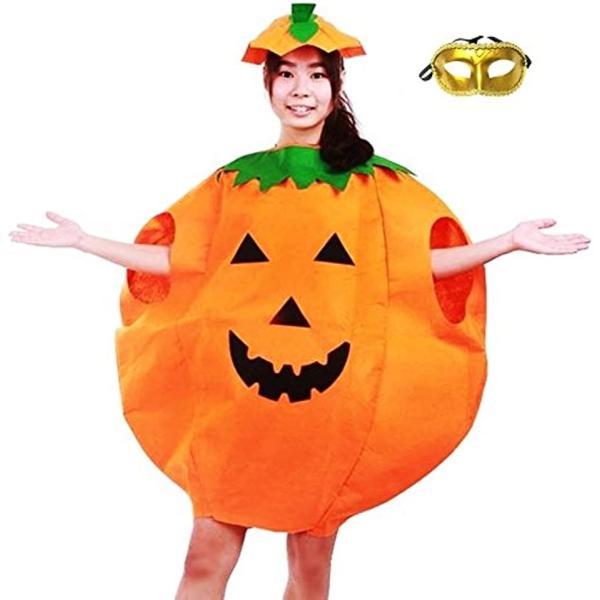 まるごと かぼちゃ 衣装 パンプキン ハロウィン ファニーな 3点セット ポンチョ+帽子+ベネチアンマスク 大人用(オレンジ, フリーサイズ)|horikku
