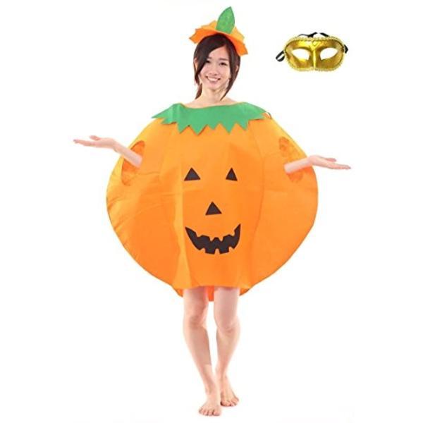 まるごと かぼちゃ 衣装 パンプキン ハロウィン ファニーな 3点セット ポンチョ+帽子+ベネチアンマスク 大人用(オレンジ, フリーサイズ)|horikku|02