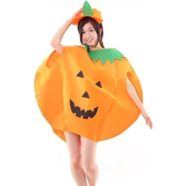 まるごと かぼちゃ 衣装 パンプキン ハロウィン ファニーな 3点セット ポンチョ+帽子+ベネチアンマスク 大人用(オレンジ, フリーサイズ)|horikku|04
