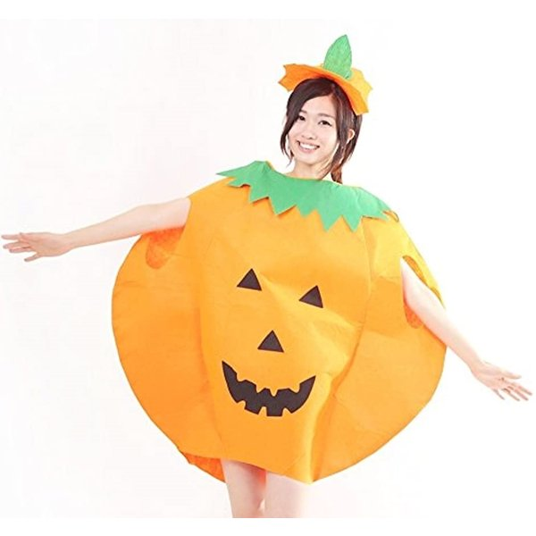 まるごと かぼちゃ 衣装 パンプキン ハロウィン ファニーな 3点セット ポンチョ+帽子+ベネチアンマスク 大人用(オレンジ, フリーサイズ)|horikku|06