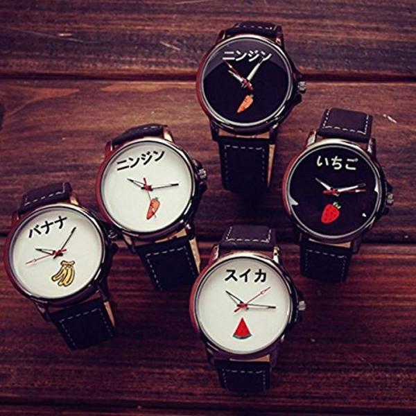 おもしろ ウォッチ シンプル デザイン 文字盤 アナログ 腕 時計 ファッション アクセサリー ユニーク カジュアル メンズ[ニンジン:ホワイト]