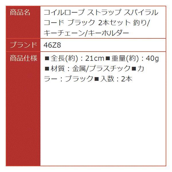 コイルロープ ストラップ スパイラルコード ブラック 2本セット 釣り/キーチェーン/キーホルダー
