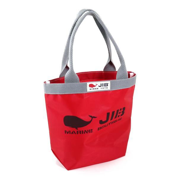JIB バケツトートバッグ Sサイズ BKS33 レッド×グレー ファスナーなし 8文字まで名入れ無料 セイルクロスバッグ エコバッグ 軽い クジラ 大きめ ジブ じぶ