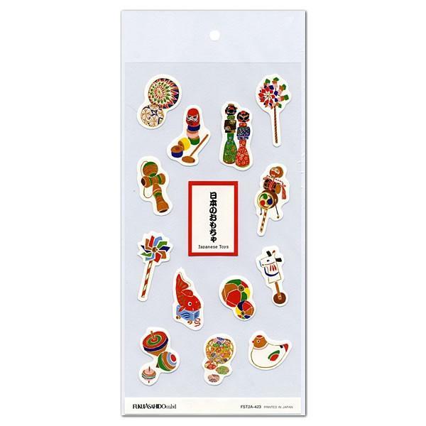 和風紙シール 日本のおもちゃ FST2A-423 透明台紙 福井朝日堂