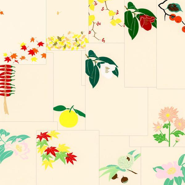鳩居堂 秋から冬のハガキ 13枚セット kyu-62 山帰来 山茶花 もみじ 侘助 柿 スプレーマム とうがらし いちょう くり ゆず シルクスクリーン印刷 き