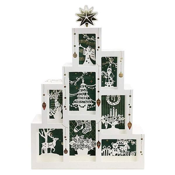 クリスマスカード 洋風 サンリオ S5183 ボックスツリー レーザーカット Christmas card グリーティングカード|horiman