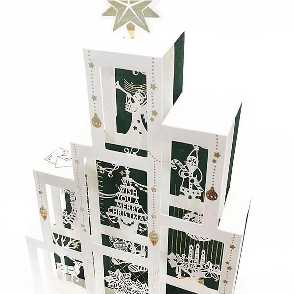 クリスマスカード 洋風 サンリオ S5183 ボックスツリー レーザーカット Christmas card グリーティングカード|horiman|04