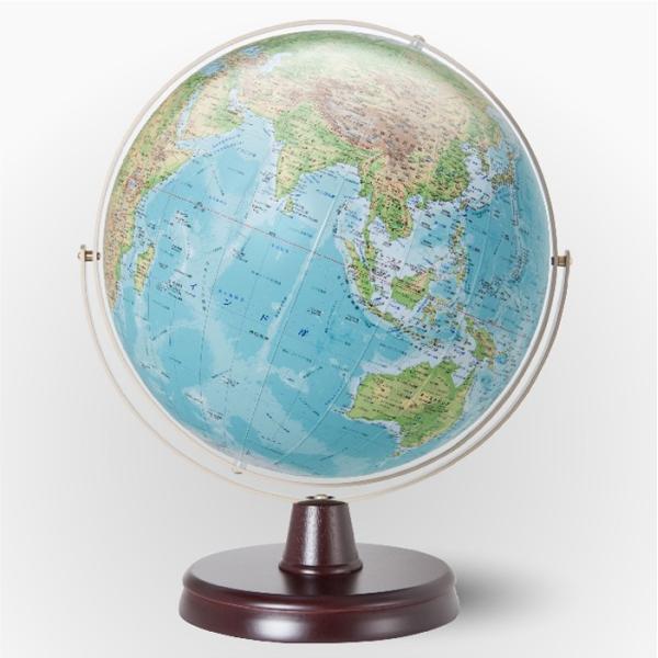 渡辺教具製作所 衛星地形地球儀 WP(地勢) W-3300 木台 球径32cm 縮尺4,000万分の1