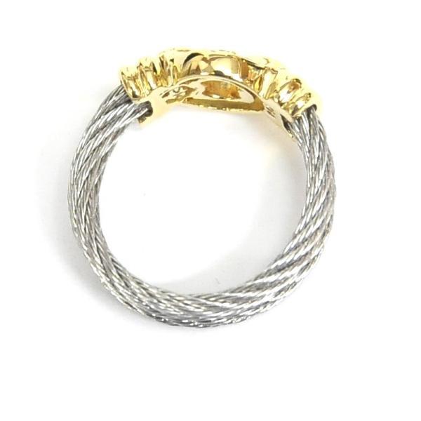 フィリップシャリオール PHILIPPE CHARRIOL 6Pダイヤ指輪 ケルティックリング シルバー×ゴールドカラー #8【中古】(34912)