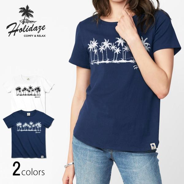 Tシャツ COCO PALM ハワイ ヤシの木 パームツリー サーフ ビーチ 半袖 レディース ホワイト インディゴ HOLIDAZE ホリデイズ|horizonblue