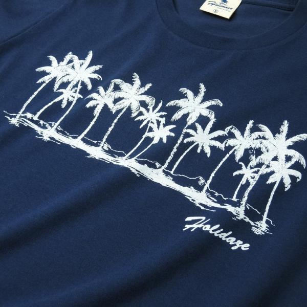 Tシャツ COCO PALM ハワイ ヤシの木 パームツリー サーフ ビーチ 半袖 レディース ホワイト インディゴ HOLIDAZE ホリデイズ|horizonblue|02