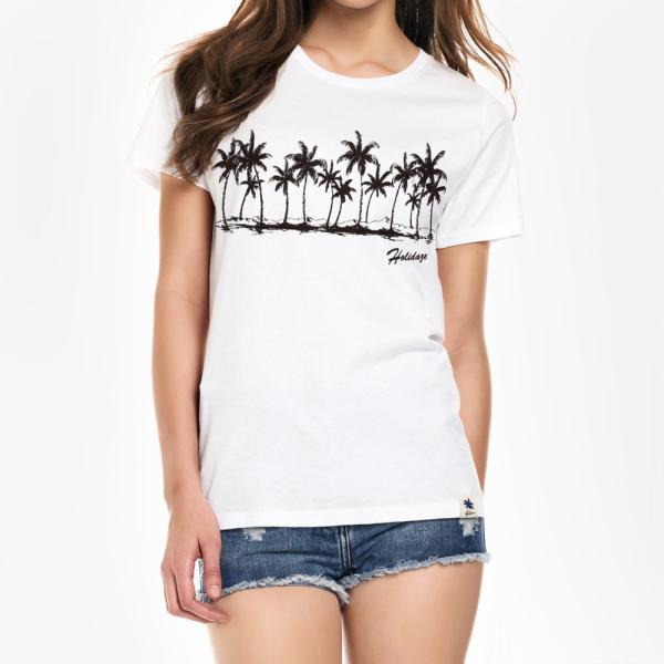 Tシャツ COCO PALM ハワイ ヤシの木 パームツリー サーフ ビーチ 半袖 レディース ホワイト インディゴ HOLIDAZE ホリデイズ|horizonblue|07