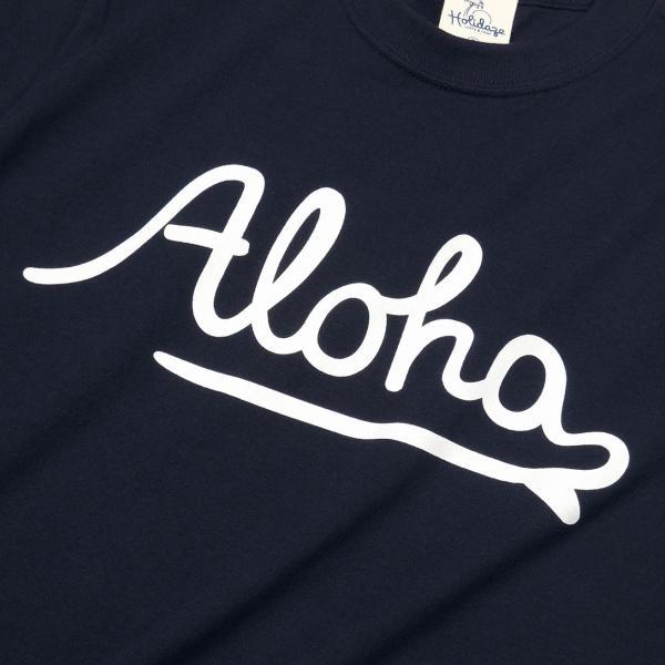 ALOHA アロハ ロゴTシャツ ハワイ ビーチ リゾート サーフ ブランド メンズ 半袖 ホワイト グレー ネイビー HOLIDAZE ホリデイズ|horizonblue|05