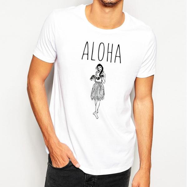 Tシャツ ALOHA アロハ フラガール ハワイ リゾート リラックス サーフ メンズ 半袖 ホワイト ネイビー HOLIDAZE ホリデイズ|horizonblue|09