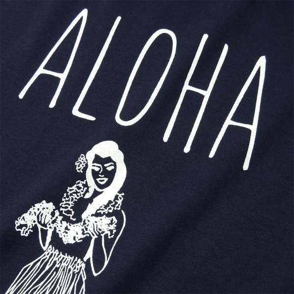 Tシャツ ALOHA アロハ フラガール ハワイ リゾート リラックス サーフ メンズ 半袖 ホワイト ネイビー HOLIDAZE ホリデイズ|horizonblue|03