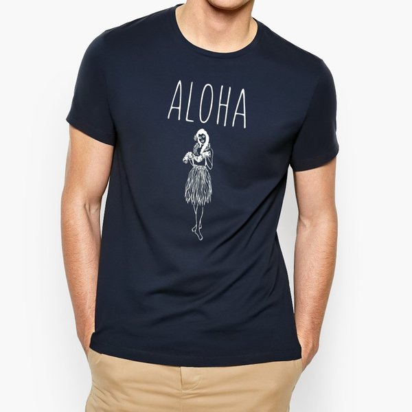 Tシャツ ALOHA アロハ フラガール ハワイ リゾート リラックス サーフ メンズ 半袖 ホワイト ネイビー HOLIDAZE ホリデイズ|horizonblue|05