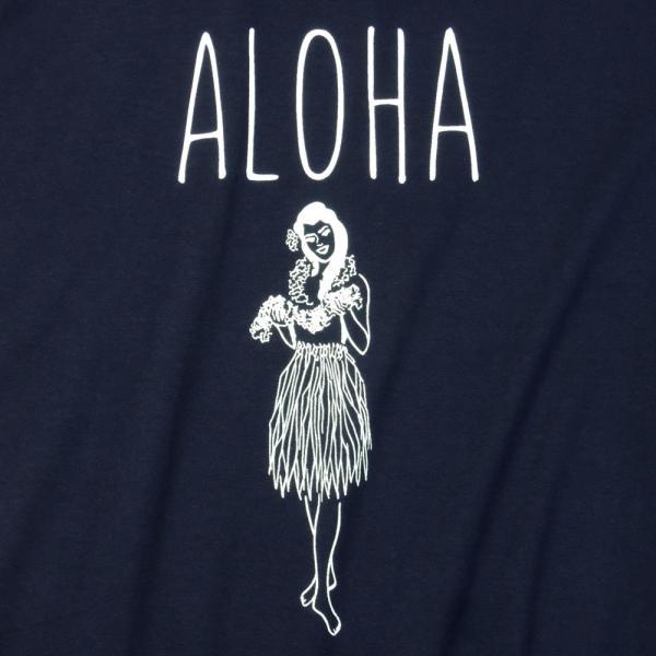 Tシャツ ALOHA アロハ フラガール ハワイ フラダンス HULA サーフ レディース 半袖 ホワイト ネイビー HOLIDAZE ホリデイズ|horizonblue|02