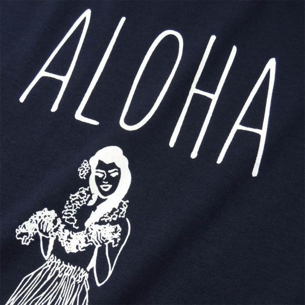 Tシャツ ALOHA アロハ フラガール ハワイ フラダンス HULA サーフ レディース 半袖 ホワイト ネイビー HOLIDAZE ホリデイズ|horizonblue|03
